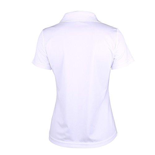 SUNNOW Dame Modisch Sportlich Kurzarm Revers Schlank Hemd Arbeit V-Ausschnitt mit Knöpfe Casual Einfarbig Oberteil Bluse SommerPoloshirt Weiß