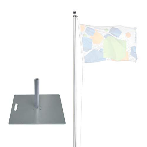 Vispronet® Mobiler 6,20 m Alu-Fahnenmast Economy ✓ versch. Bodenelemente ✓ Mast Ø 50 mm ✓ 5-teiliges Stecksystem ✓ für Fahnen & Flaggen (Bodenplatte 55 x 55 cm/19,7 kg)