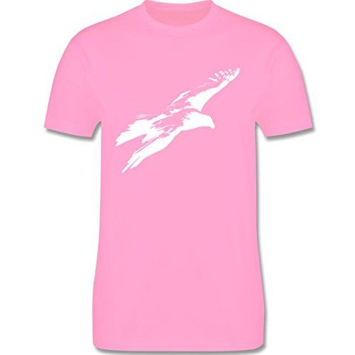 Tiermotive - Weißer Adler - L190 - Premium Männer Herren T-Shirt mit Rundhalsausschnitt Rosa