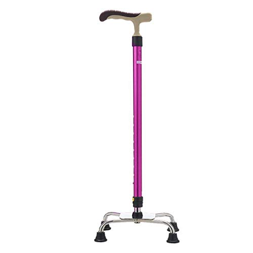 ACZZ Gehstock/Krücken Gehstöcke aus Aluminiumlegierung mit Schwamm Ergonomischer Griff 9 Höhenverstellbare Stufen für ältere Männer oder Frauen Gehstock in Pink mit 4 Beinen Rutschfeste Basis