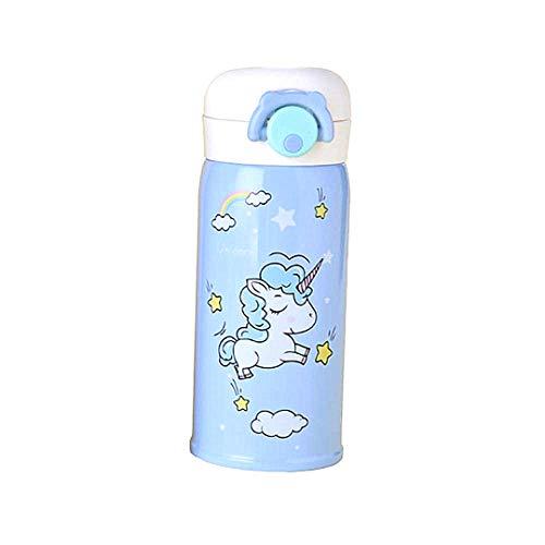 Edelstahl Trinkflasche Isolierung Getränk-Schale niedlicher Cartoon-Cup Einhorn Isolierung Becher 350ml Blue 1 PC