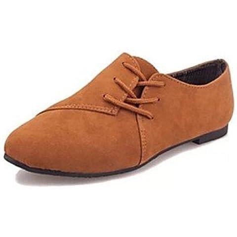 Zapatos de mujer puntera redonda tacón zapatos Oxfords plana más colores disponibles , Beige-US7.5 / UE38 / UK5.5 / CN38 , Beige-US7.5 / UE38 / UK5.5 / CN38