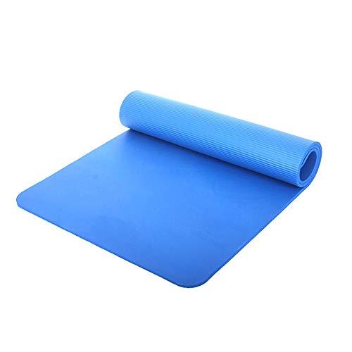 MJKHG Schnell Zugstufe NBR Yoga-Matte, Lange Anti-Rutsch-Fitness-Matte, Verbreiterte Geruchs- hohe Dichte verdickte Anfänger Gymnastikmatte (Farbe : Blau)