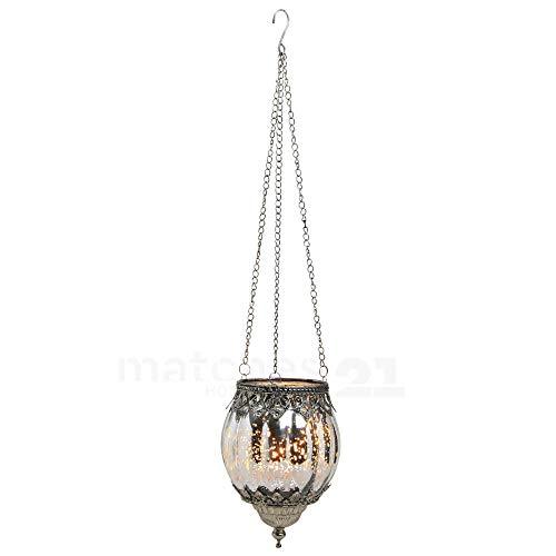 matches21 Hänge Windlicht Teelichtglas Kerzenglas Orientalisch Silber antik Glas/Metall Vintage - 2 Größen zur Auswahl - 16 cm