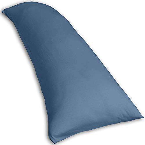 Traumreiter Visco-Dream Gel Seitenschläferkissen mit Kissenbezug Taubenblau | verstellbar + extrabreit 140 x 50 cm