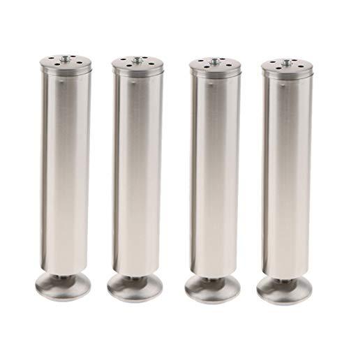 4 Stücke Silber Edelstahl Möbelfüße Möbelbeine Schrankfüße Regalbeine, Durchmesser: 5cm Höhe: 25cm