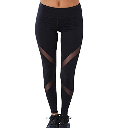 YAANCUN Mujer Los Pantalones De Yoga De Las De Diseño Polainas Ropa De La Aptitud para El De Entrenamiento En Gimnasio Negro