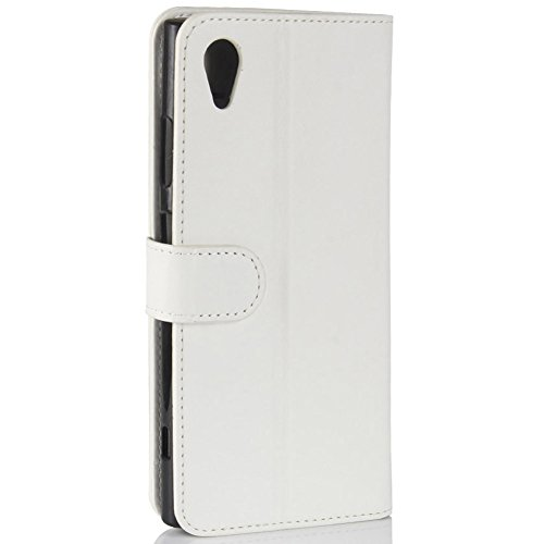 KM-WEN® Schutzhülle für Apple iPhone X (5,8 Zoll) Bookstyle Ledertasche mit Magnetverschluss PU Leder Wallet Case Flip Cover Hülle Tasche Schutzhülle mit Standfunktion Kartenfächer für Apple iPhone X  Links-Rechts Offen Weiß