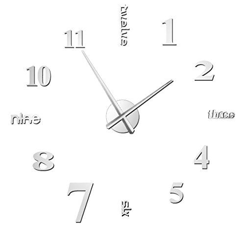 Hapileap moderno stile semplice fai da te grande 3d autoadesivo della parete orologio per casa ufficio decorazione nero lettera e numero stile (argento)