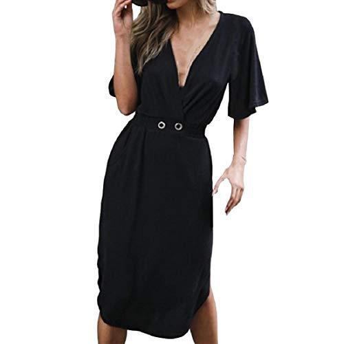 Robemon Frauen Sexy Tiefem V-Ausschnitt Kurzarm Abendkleid Sommer Reine Farbe Verband Enges Minikleid Lässige Slim Fit Lace Up Kleid