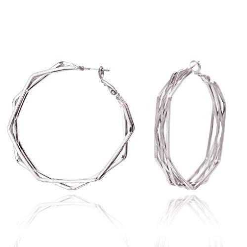 BONALUNA Frauen Multi Frame Moderne geometrische Statement-Band-Ohrringe Silber