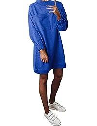 a6d9ecbfb88dc LILICAT Sweatshirt Kleid Frauen Einfarbig Pullover Slim Fit Große Tasche  Langarm NachtclubKleid Ärmellos Hochzeit Gastkleid Abend…