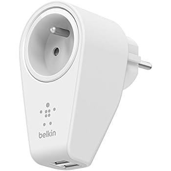 Belkin - Chargeur Secteur Rotatif avec Prise Intégrée et 2 ports USB (2 x 2,4A partagés) - Blanc