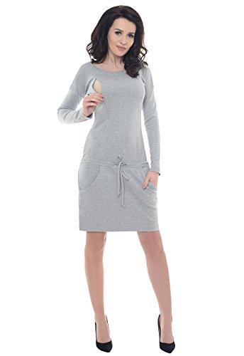 Purpless Maternity Umstand und Pflege Kleid mit Taschen B6204 Light Gray Melange