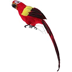 Baoblaze Oiseau Artificielle Plumes Sculptures Perroquet Figurine Animal Ornement Jardin Arbre - Rouge
