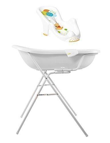 Disney Winnie Pooh weiß Baby Badewanne XXL 100 cm + Badewannenständer + Badesitz + Waschhandschuh (Disney Baby-badewanne)