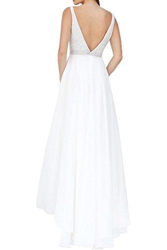 Milano Bride Damen Elegant Tief V-Ausschnitt zwei Traeger Abendkleider Promkleider Ballkleider Festkleider Chiffon mit Steine Rueckenfrei Lang Weiß