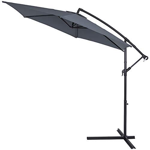 Deuba® Alu Ampelschirm Ø 300cm anthrazit mit Kurbelvorrichtung Aluminium Wasserabweisende Bespannung - Sonnenschirm Schirm Gartenschirm Marktschirm