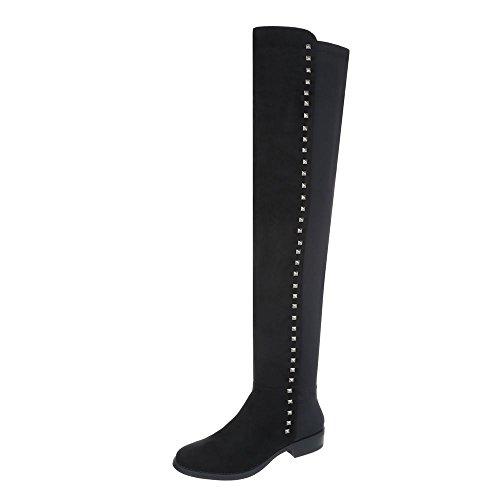 Ital-Design Overknees Damen-Schuhe Overknees Blockabsatz Nieten Besetzte Reißverschluss Stiefel Schwarz, Gr 38, 2418-