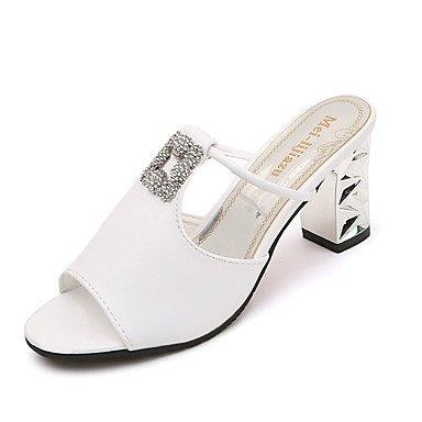 Donne'spantofole & flip-flops Primavera Estate Comfort PU Casual Chunky Tacco a piedi di strass US6.5-7 / EU37 / UK4.5-5 / CN37