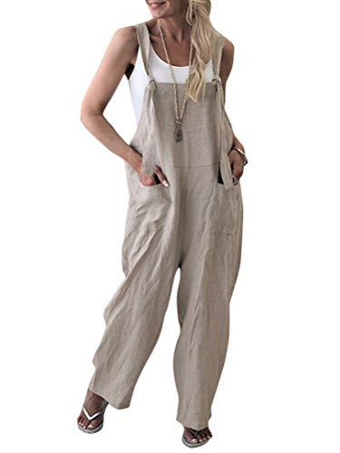Onsoyours Damen Beiläufig Latzhose Jumpsuits Bib Hose Leinen Casual Loose Overall Lange Wide Leg Hosen A Aprikose DE 38
