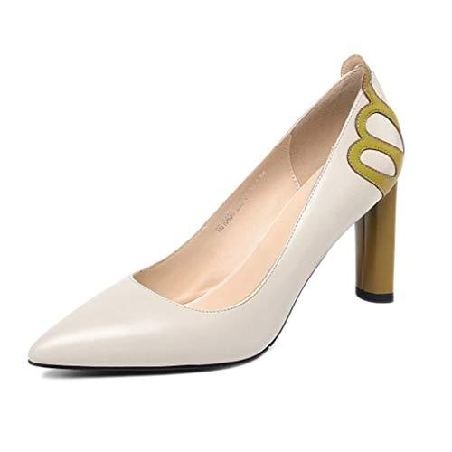 Damen Spitzen Pumps Büro Klassiker geschlossene Zehen atmungsaktiv Einzelne Schuhe Vier Jahreszeiten farblich passendes Leder Mode High Heels,Beige-37