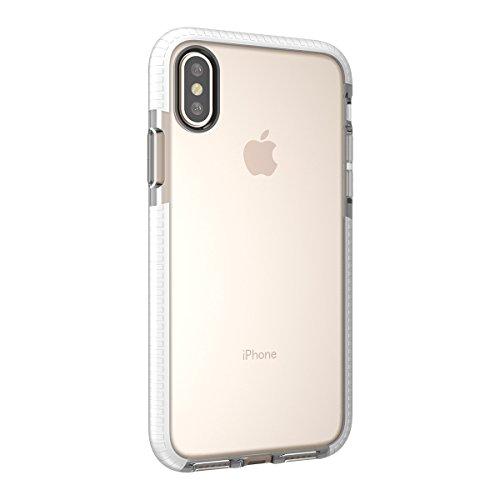 iPhone X Handycover, MOONMINI für iPhone X Transparent Weiche TPU Silikon Cover Hybrid Frame Ultra dünn Premium Bruchsicher Anti-Kratzer Schutzschale Anti-Drop Back Hülle Rosa Weiß