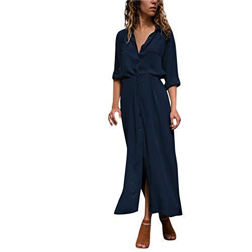 VJGOAL Robe Longue Femme Solide Robe Longue Manche Occasionnels Loose V Cou Bouton Fendu Ourlet Long Automne Hiver Vert Robe(FR-40/CN-S,Marine
