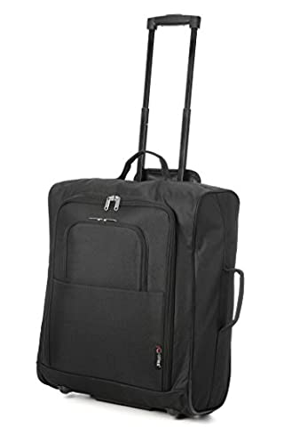 Easyjet, British Airways, Jet2 56x45x25cm Maximum Cabin Hand Luggage Approved Trolley Bag, Huge 60L Capacity, (Black)