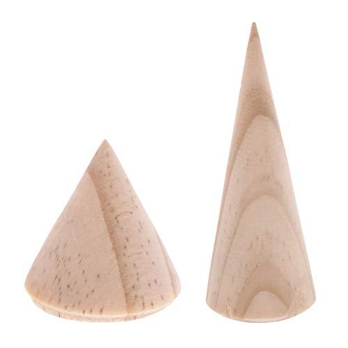 Holz Schmuck Vitrine (FLAMEER 20 Stücke Holz Schmuck-Vitrine Unlackierte Kegel Holz Natürlichen Ring Schmuck Halter Sortiert)