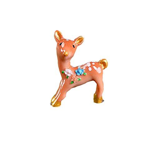 LAMEIDA Deko Rehkitz Mini Gartendeko Miniatur Modell Figur Tier Ornament Fee Puppenhaus Weinachten Deko Frühling Size 2.8 * 2cm (braun)
