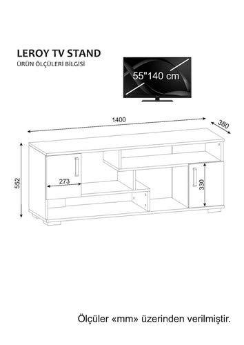 Wohnwand Anbauwand TV Medienwand Lowboard Wohnwandkombi LEROY in Weiss-Somon 2060 - 4