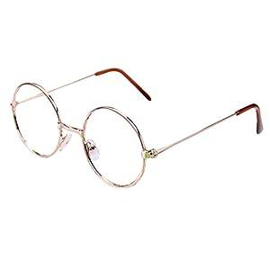 Hibote Mädchen Junge Runde Brille – Clear Lens Glasses Frame Geek/Nerd Brillen mit Car Shape Gläser Fall
