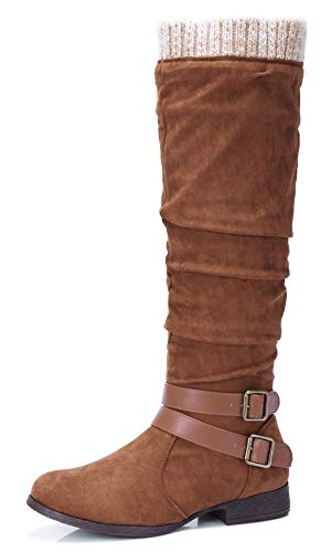 Women's faux suede knee high slouch boots
