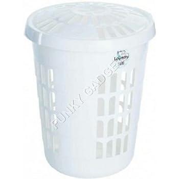 linen bin white 58 l plastic laundry basket round linen basketbinhamper