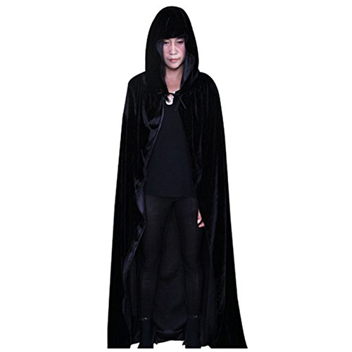 Neuer Unisex Halloween Umhang, Hexe Hoodies Cosplay Party Kostüm (Schwarz) (In Voller Länge Cape)