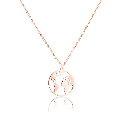 GD GOOD.designs EST. 2015 Weltkugel Halskette in Silber, Gold oder Roségold, Kettenlänge 45 cm (Rosé)