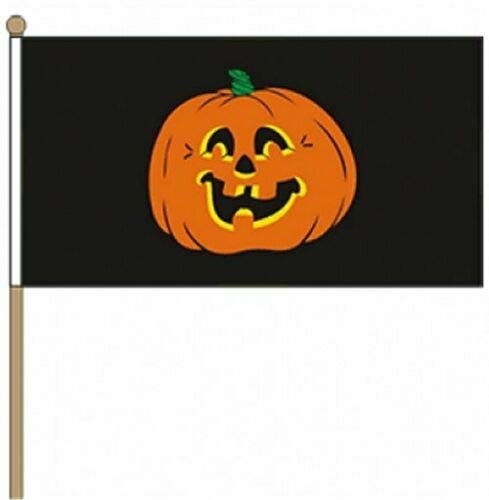Flagmania® Kürbis (Halloween) 22,9 x 15,2 cm Handwinkel-Flagge + 59 mm Button -