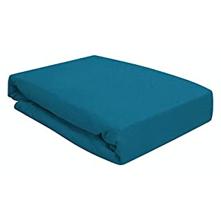 Arle-Living Spannbettlaken für Wasserbett Boxspringbett oder Übergrößen 180x200-200x220 cm - hochwertige 190 gr/m² - breites Farbsortiment (Petrol blau/Petrol Blue)