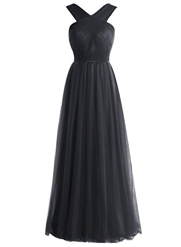 Bbonlinedress Robe de soirée et de demoiselle d'honneur A-line plissée col V sans manches et strass longueur ras du sol en tulle Noir