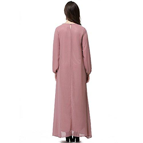 Highdas muslimischen Frauen Langarm lose Spitzenkleid die neuesten Mode Spleißen arabischen Roben Rosa