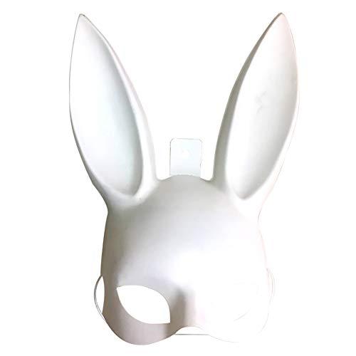 Newin Star Bunny Mask Hase Maske für Frauen zum Geburtstag Ostern Vispera alle Santos Party Anzug Zubehör (weiß)