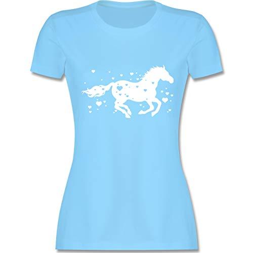 Valentinstag - Pferde mit Herzen - XXL - Hellblau - L191 - Damen T-Shirt ()