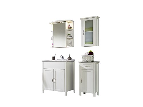 #SAM® Design Badmöbel-Set Venedig 4tlg, in weiß lackiertem Kiefernholz, Badezimmer-Set bestehend aus 1 x Waschplatz mit Waschbecken, 1 x Spiegelschrank, 1 x Hängeschrank, 1 x Unterschrank#