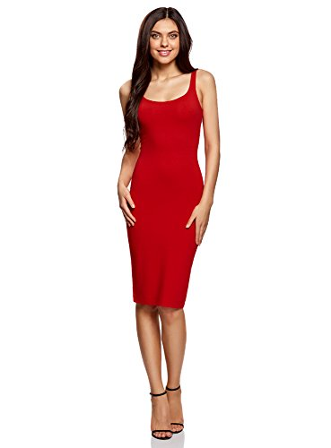 oodji Ultra Mujer Vestido-Camiseta de Tirantes de Punto, Rojo, ES 46 / XXL