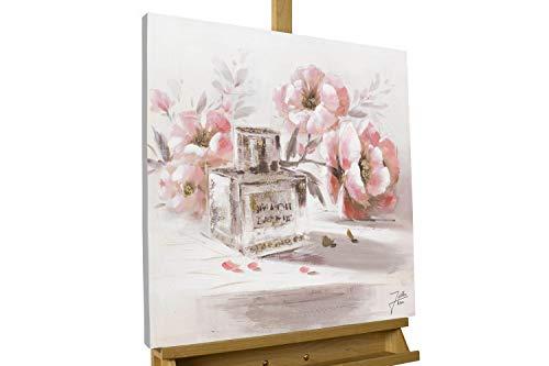 KunstLoft® Gemälde 'One of a Kind' 60x60cm | original handgemalte Leinwand Bilder XXL | Blume Rosa Parfüm Romantisch Gold Glitter | Wandbild Acrylbild Moderne Kunst einteilig mit Rahmen
