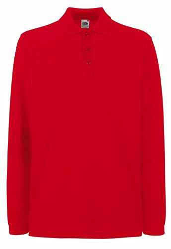 Fruit of the Loom Herren Poloshirt Premium Long Sleeve Polo Red