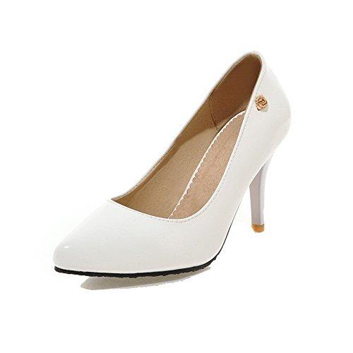 VogueZone009 Femme Pu Cuir à Talon Haut Pointu Couleur Unie Tire Chaussures Légeres Blanc