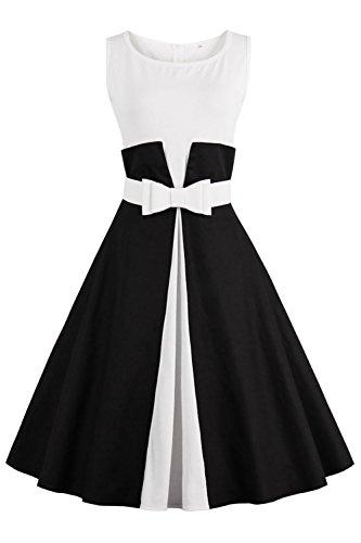 Axoe Damen 50er Jahre Einfarbiges Festliche Rockabilly Kleid Elegante Audrey Hepburn Abendkleider für Hochzeit Schwarz Knielang Gr.48