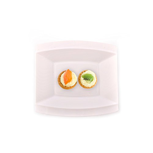 Crescent Collection, 40Pack Premium wie echtes China weiß eckig Kunststoff Teller, Hochzeit und Party Geschirr 15,2 cm weiß (Kunststoff-geschirr Hochzeiten Für)